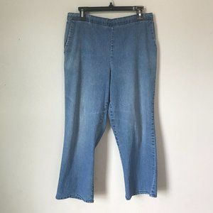 Vintage Medium Wash Pull On Elastic Mom Jeans